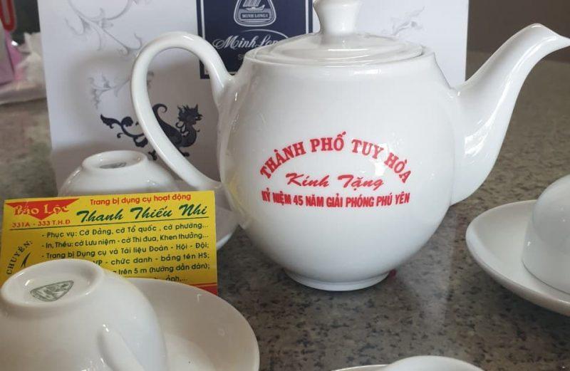Bộ tách chén trà in nội dung theo yêu cầu